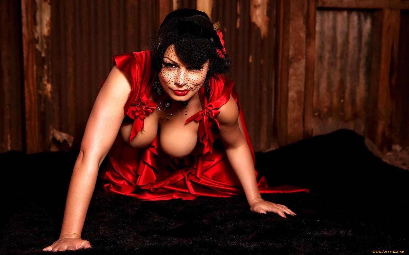 Трахнул сисястую в красном платье фото 425-107